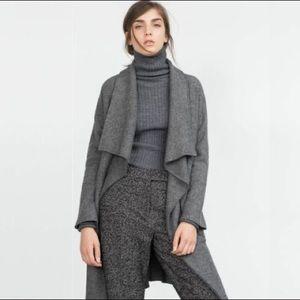 Zara Waterfall Double Face Wool Coat XS